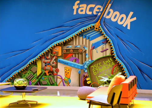 Murals by Shaun Logan seen at Facebook HQ, Menlo Park - Zipper