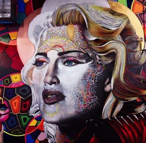Street Murals by Chor Boogie seen at The Cubes, New York - Like a Material Moonwalking Virgin