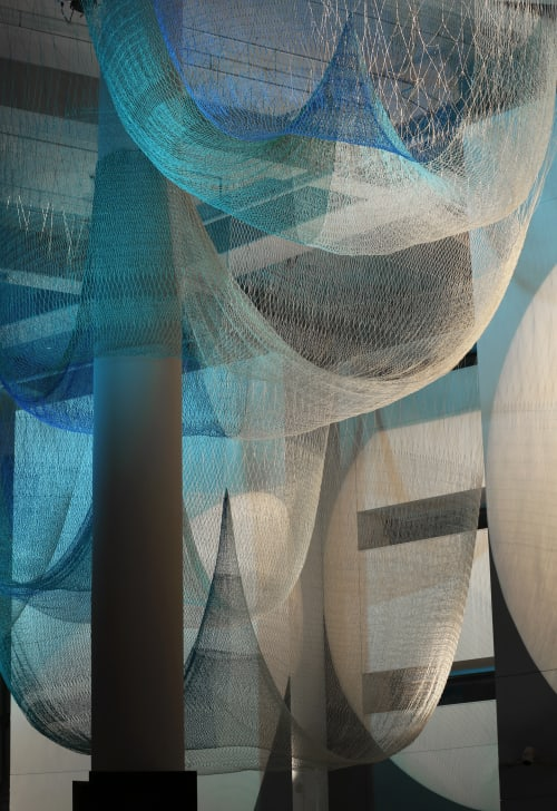 Sculptures by Janet Echelman seen at Matthew Knight Arena, University of Oregon, Eugene, OR, Eugene - Allegory