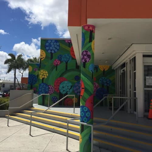 "Murals by Alicia Maria Vallejo seen at North Miami Beach Library, North Miami Beach - ""Forest of Dreams"" Mural"
