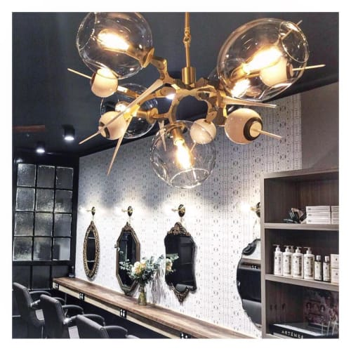 Wallpaper by Eskayel at Crysalis Hair & Body, Cooks Hill - Akimbo 5-Greyscale