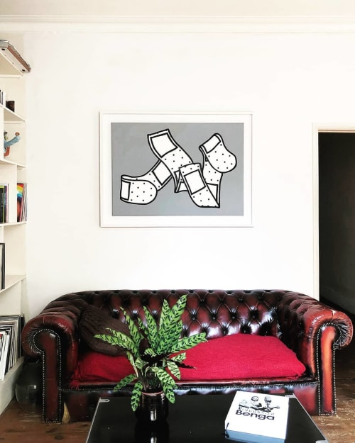 Paintings by Dede Bandaid seen at Private Residence, London - Band Aid (Gray) Painting