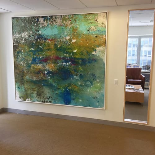 Paintings by Andrew Cotton Art 100% COTTON seen at The Lexington Hotel, Autograph Collection, New York - Abstract Painting - Indigo & Green
