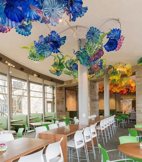 Sculptures by Dale Chihuly seen at Taste of the Gardens Café, Grand Rapids - Lena's Garden