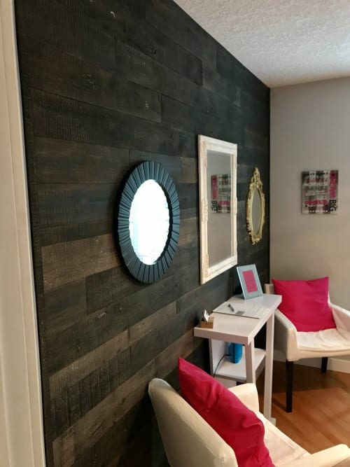 Wall Treatments by Cask Woodworking seen at Private Residence, Sherwood Park - Studio Wood Wall