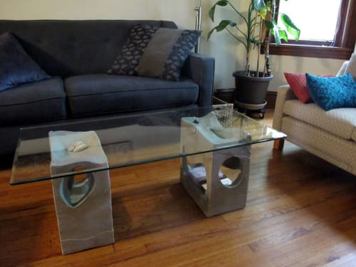 Tables by Corinne D. Peterson seen at Corinne D. Peterson Residence, Chicago - Ceramic and Glass Coffee Table