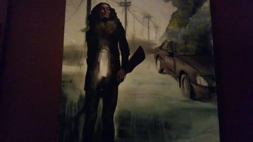 Paintings by Jeffrey Nemenzo seen at Zoe's Bar and Restaurant, San Francisco - Gun Lady