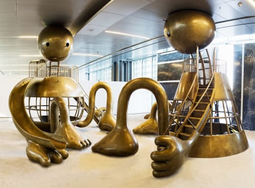 Sculptures by Tom Otterness seen at Hamad International Airport, Doha, Qatar, Doha - Other Worlds