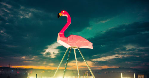 Sculptures by Josh Zubkoff seen at Burning Man 2017 - Phoenicopterus Rex