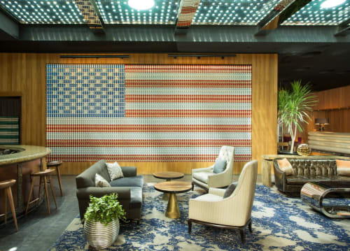 Wall Hangings by Patrick Marando seen at Dream Downtown, New York - American Flag Beer Can Wall