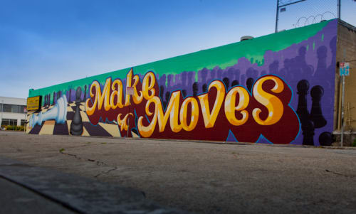 Murals by Roman Cesario seen at Cash & Carry, South Van Ness Avenue, San Francisco - Make Moves