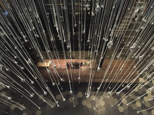 Chandeliers by Neptune Glassworks seen at Otium, Los Angeles - Rain Chandelier