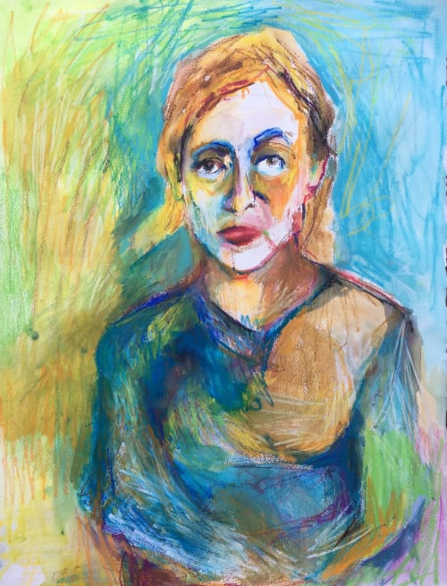 """Paintings by Rivka Nehorai Art seen at Industrious Office, Brooklyn - """"A Woman Without Her Instrument Is Still A Woman"""""""