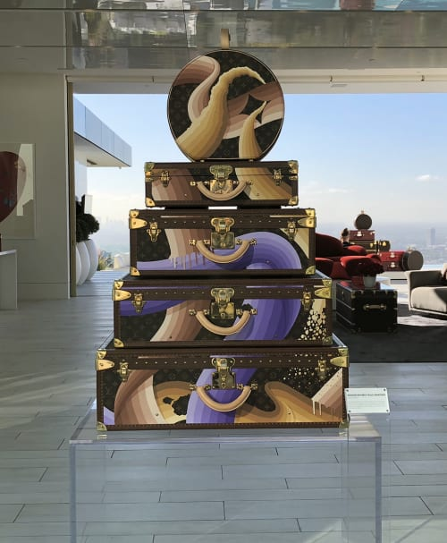 Murals by Ricky Watts seen at Louis Vuitton Beverly Hills Rodeo Drive, Beverly Hills - Hand Painted Trunk Stack