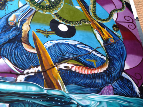 "Street Murals by Federico ""Iena Cruz"" Massa seen at 432 West 163rd Street, New York - Tricolored Heron"