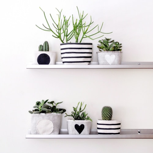 Vases & Vessels by Gray Green Goods seen at Private Residence, Boston - Black Stripe Canvas Planter