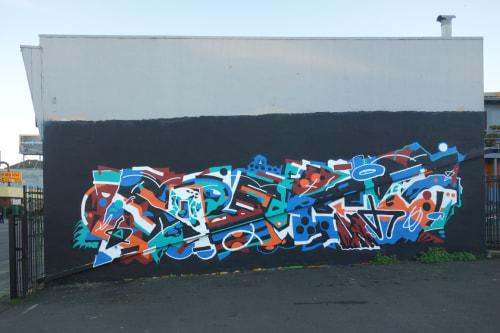 Street Murals by Sobekcis seen at International Boulevard in Lake Merritt, Oakland, CA, Oakland - Twins