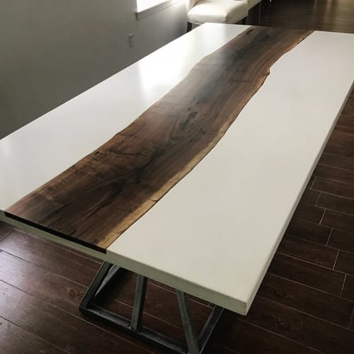Tables by KonKrete Designs seen at Private Residence, McKinney, TX, McKinney - Concrete & Walnut Dining Table