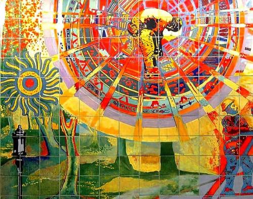 Street Murals by Francisco Letelier seen at Wilshire / Alvarado Metro Stattion, LA, Los Angeles - Detail of Sun Mural