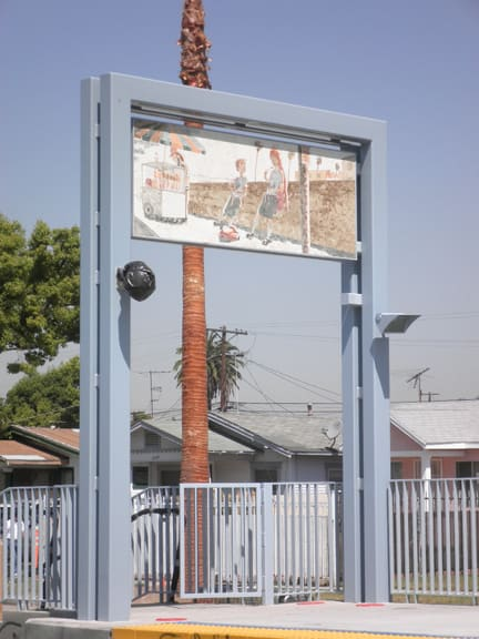 Murals by Ronald J. Llanos seen at Expo/Western Lightrail Station, Los Angeles., Los Angeles - Ephemeral Views