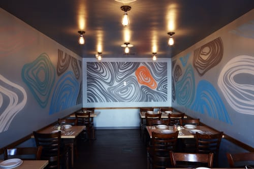 Murals by VESL seen at Blue Line Pizza, Los Gatos, Los Gatos - Waves Mural