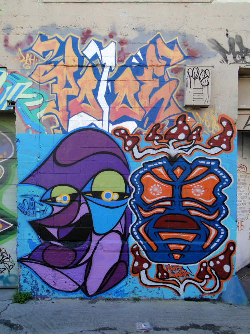 Street Murals by Wone seen at Lilac Street, Mission District, San Fransisco, San Francisco - Bunch of Characters