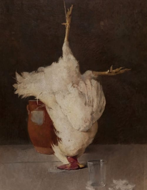 Paintings by Emil Carlsen seen at Mills College Art Museum, Oakland - Still Life (With Chicken)