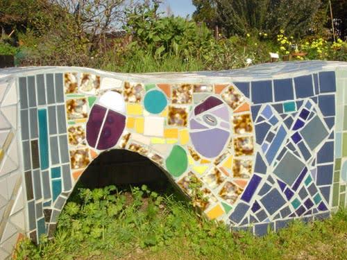 Public Mosaics by Dmitry Mosaics seen at Peralta Community Garden, Berkeley - Snake Benches