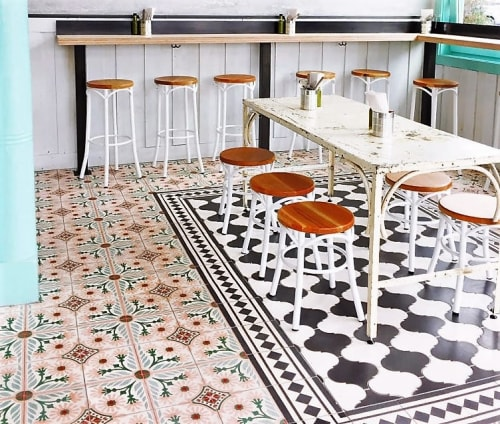 "Tiles by Avente Tile at Media Noche Restaurant, San Francisco - Mission Cement Tile (5-color) 8"" x 8"""