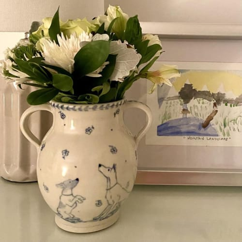 Vases & Vessels by Linda Mercer seen at Creator's Studio, Victoria - Cobalt Dogs and Flowers Vase