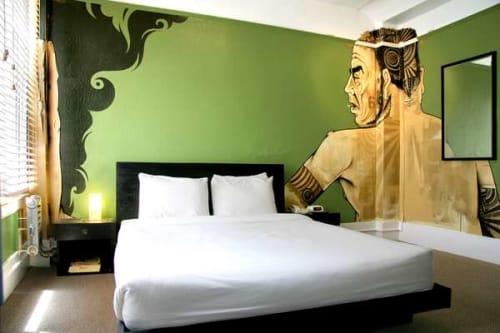 Murals by Yesnik Evad seen at Hotel Des Arts, San Francisco - Mural Room 411