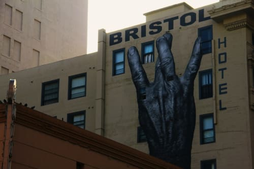 Murals by JR seen at Bristol Hotel Apartments, Los Angeles - W-Hand