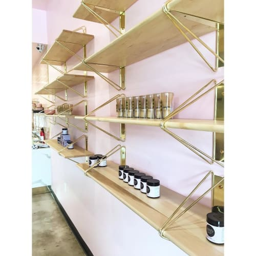 Furniture by Souda seen at Holy Matcha, San Diego - Brass Strut Shelves