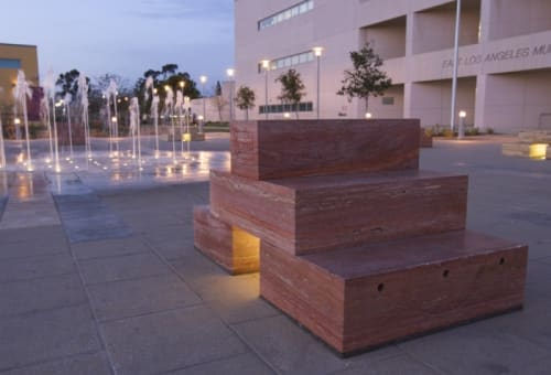 Sculptures by Linda Arreola seen at East Los Angeles Civic Center - Main Plaza, Los Angeles - Sculptural Seating