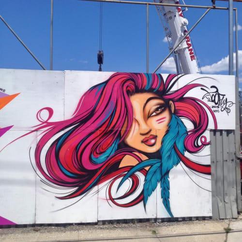 Street Murals by TooFly seen at Bushwick, Brooklyn, Brooklyn - Female Portrait