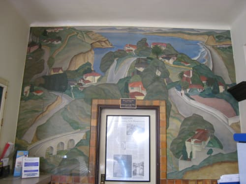 Murals by Belle Baranceanu seen at United States Postal Service - La Jolla, San Diego - Scenic View of the Village