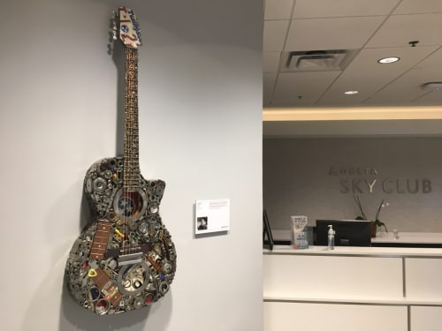 Sculptures by Brian Mock seen at Delta Sky Club - Nashville International Airport, Nashville - Nashville Delta Guitar