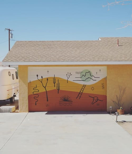 Murals by Prescott McCarthy seen at Joshua Tree National Park - Garage Door Mural