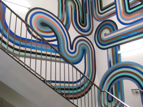 Murals by Serena Mitnik-Miller seen at Facebook HQ, Menlo Park - Stairwell Mural