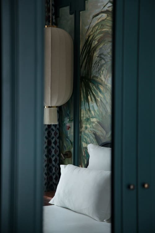 Lamps by Atelier Bespoke seen at Hotel Monte Cristo Paris, Paris - Fabric and Brass Lampshade