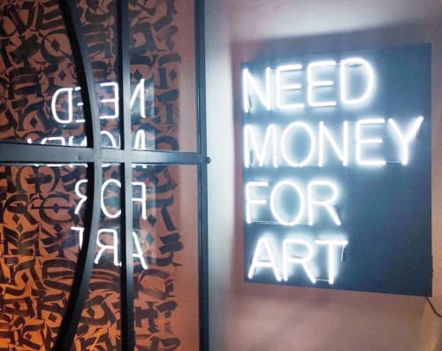 Art & Wall Decor by Beau Dunn Fine Art seen at Hotel Matilda, San Miguel de Allende - Need Money For Art Neon