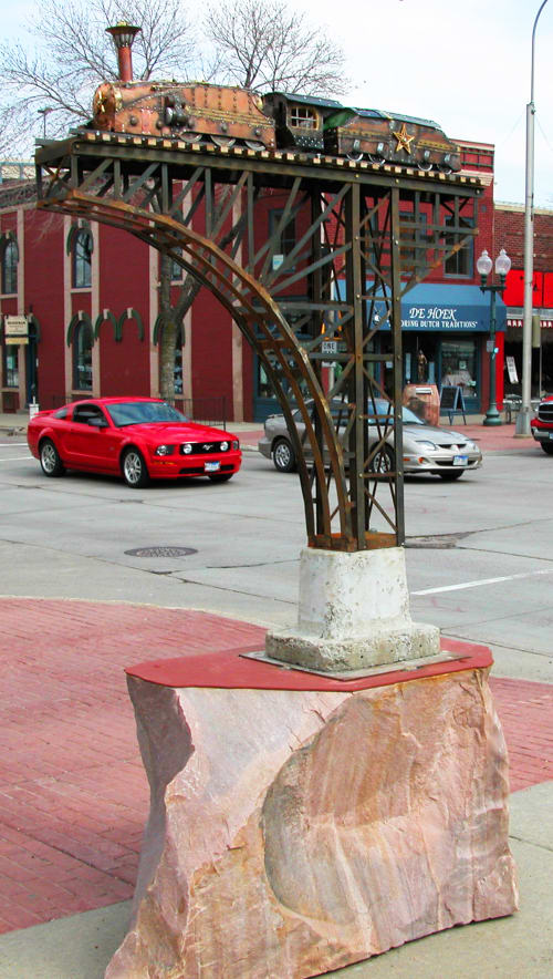 "Sculptures by Kyle Fokken - Artist LLC seen at Cherapa Place, Sioux Falls, SD, Sioux Falls - ""Train"""
