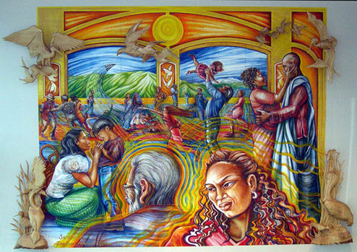 Murals by Emmanuel Catarino Montoya seen at San Francisco International Airport, San Francisco - Santuario/Sanctuary