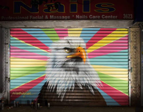 Street Murals by Peter Daverington seen at 3623 Broadway, New York - Bald Eagle