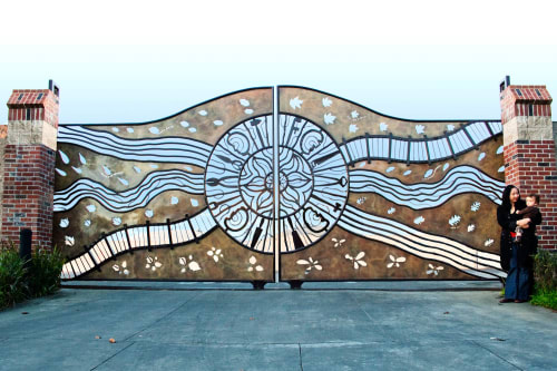 Sculptures by Eric Powell seen at Berkeley Corporation Yard, Berkeley - Mandala Gates