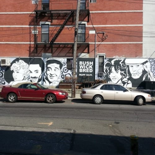 "Street Murals by Rah Crawford seen at Saint Nicholas Avenue, Brooklyn - ""Bushwick Bred - Nuff Said"""