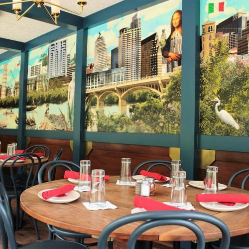 Murals by Judy Paul seen at Juliet Italian Kitchen, Austin - Juliet Italian Mural