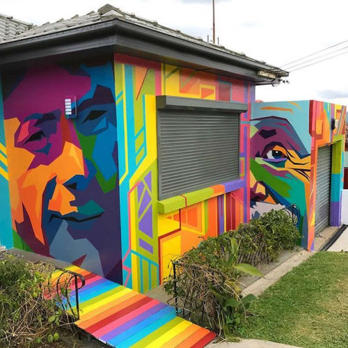 Murals by Ayjay seen at Private Residence, Port Kembla - Candy Cave