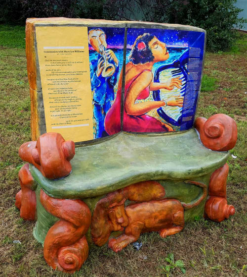 Public Sculptures by Liberty Avenue Musicians  Downtown Pittsburgh at Pittsburgh, Pennsylvania, Pittsburgh - Book Bench