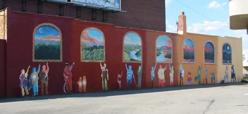 """Murals by Laurie Marshall seen at Father Ryan Arts Center, McKees Rocks, PA, McKees Rocks - """"""""I Myself Am That"""""""""""